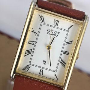 Vintage Citizen Tank Watch Gold Tone Brown Strap